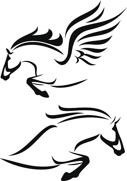 Horse And Pegasus Vector Art Illustration