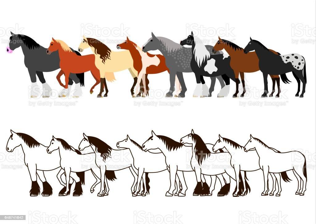 Horse banner set vector art illustration