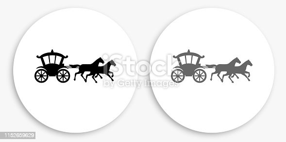 Horse Carriage Black and White Round Icon. This 100% royalty free vector illustration is featuring a round button with a drop shadow and the main icon is depicted in black and in grey for a roll-over effect.