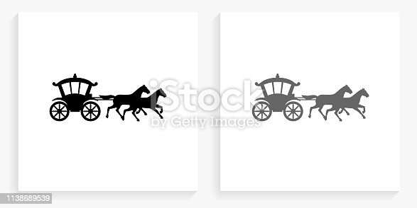 Horse Carriage Black and White Square Icon. This 100% royalty free vector illustration is featuring the square button with a drop shadow and the main icon is depicted in black and in grey for a roll-over effect.