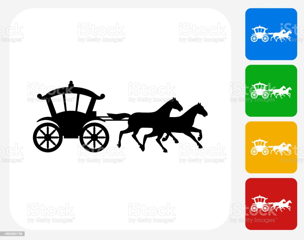 Pferdekutsche Symbol flache Grafik Design – Vektorgrafik