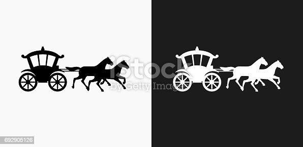 Horse Carriage Icon on Black and White Vector Backgrounds. This vector illustration includes two variations of the icon one in black on a light background on the left and another version in white on a dark background positioned on the right. The vector icon is simple yet elegant and can be used in a variety of ways including website or mobile application icon. This royalty free image is 100% vector based and all design elements can be scaled to any size.