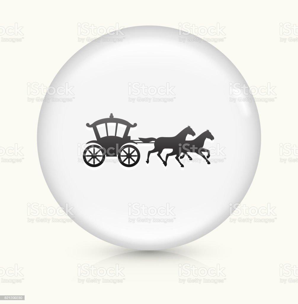 Pferdekutsche Symbol auf weißer Runder Vektor Knopf – Vektorgrafik