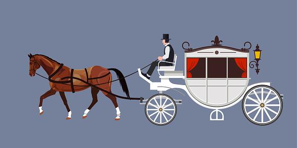 Horse carriage vector