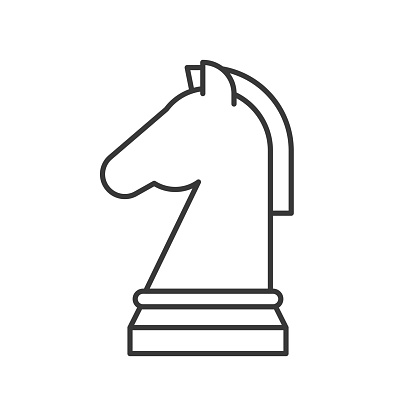 horse chess icon, strategy in business concept, editable stroke outline