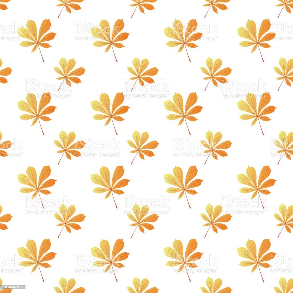 Horse chestnut leaves seamless pattern. Autumn background. vector art illustration