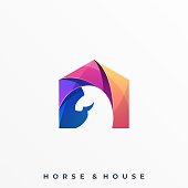 Horse Colorful Design concept Illustration Vector Template. Suitable for Creative Industry, Multimedia, entertainment, Educations, Shop, and any related business.