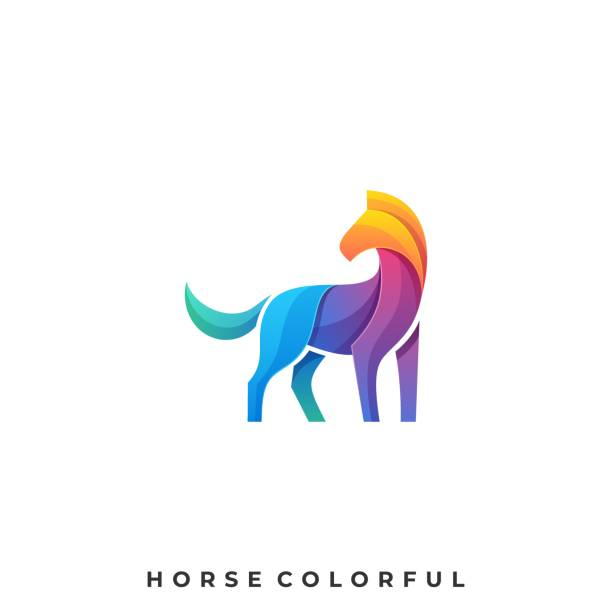 Horse Colorful Illustration Vector Template Horse Colorful Illustration Vector Template. Suitable for Creative Industry, Multimedia, entertainment, Educations, Shop, and any related business. hoofed mammal stock illustrations