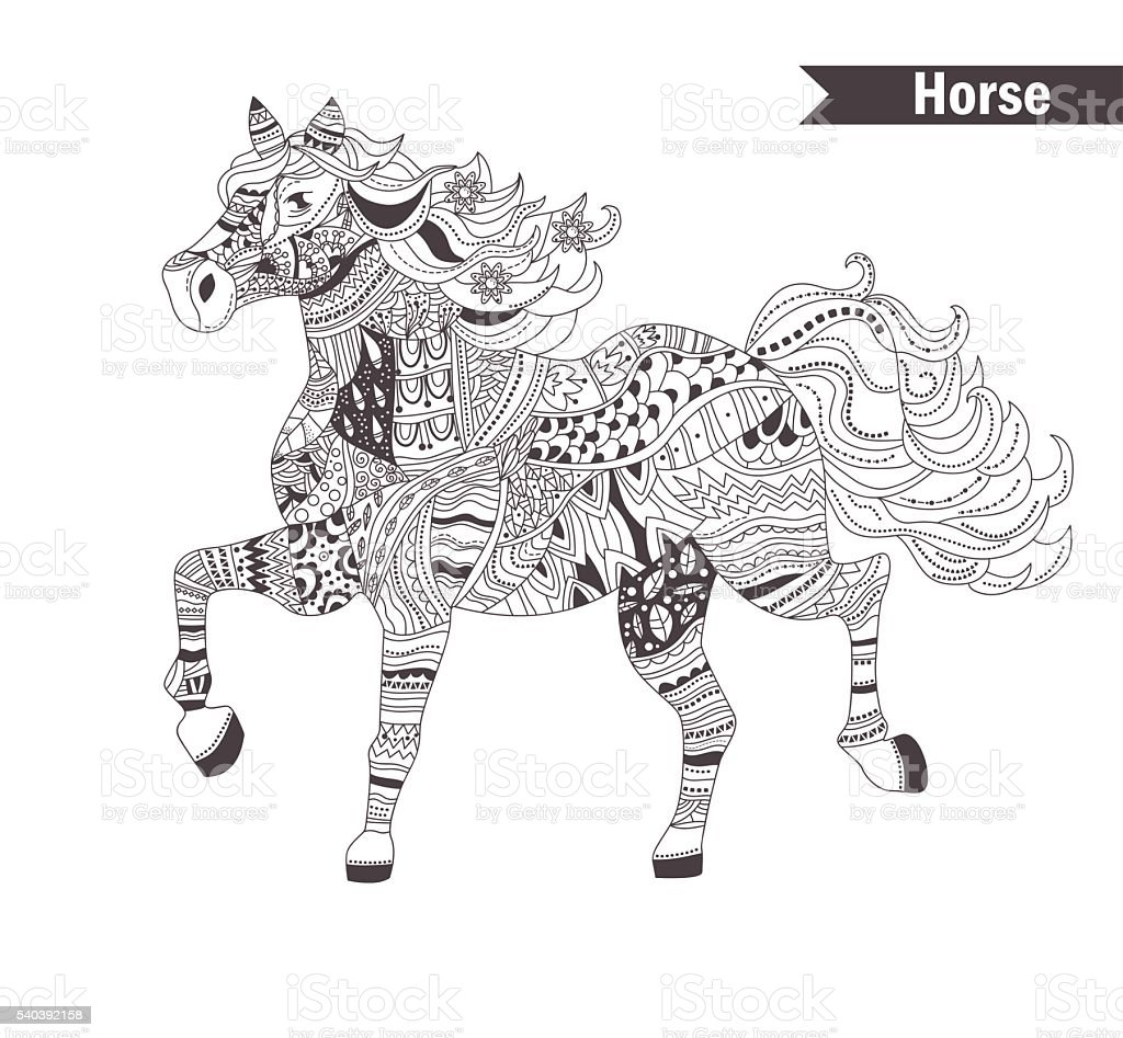 - Horse Coloring Book For Adult Stock Illustration - Download Image Now -  IStock