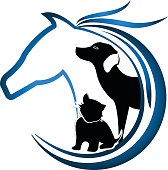 Horse, dog and cat. Animal lovers sticker icon vector
