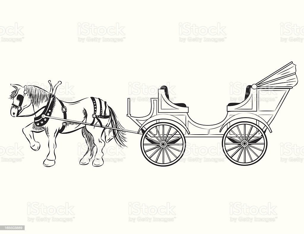 Horse drawn carriage stock vector art 165503889 istock horse drawn carriage royalty free stock vector art ccuart Choice Image