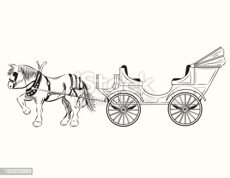 Pen and ink illustration of an old fashioned horse drawn carriage. Horse and carriage are on separate layers for easy editing. The white background is on a separate layer for easy color change. Hi-Res JPEG and CS3 files included.