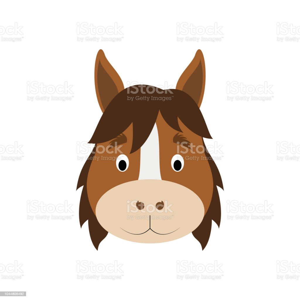 Horse Face In Cartoon Style For Children Animal Faces Vector Illustration Series Stock Illustration Download Image Now Istock