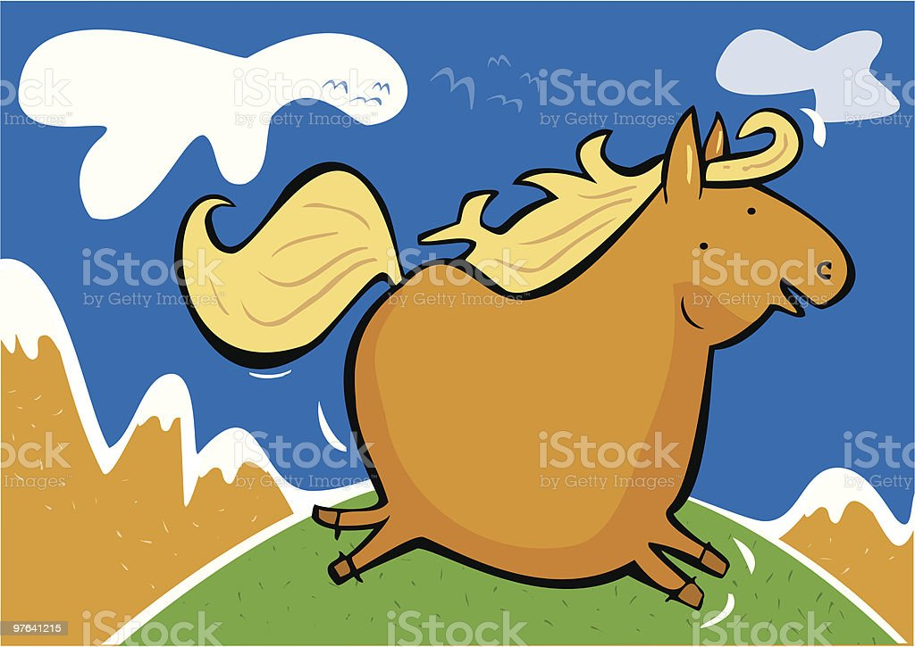 Caballo galopando por la pradera royalty-free stock vector art