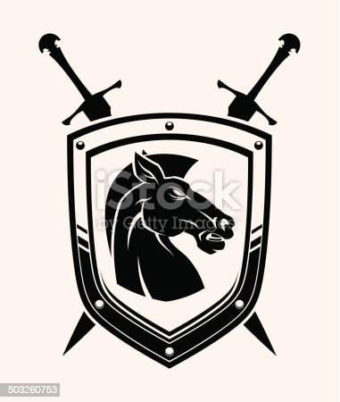 Horse head coat of arms.