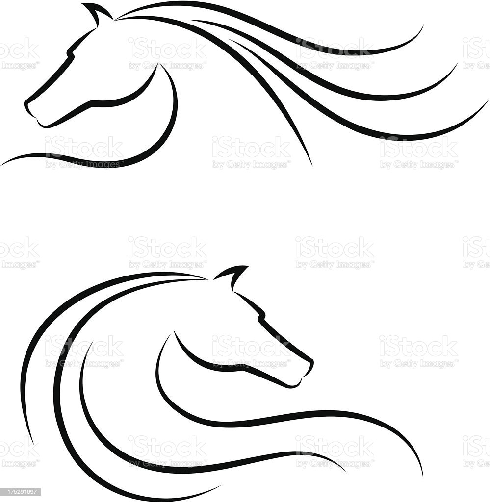 Horse head emblem set vector art illustration