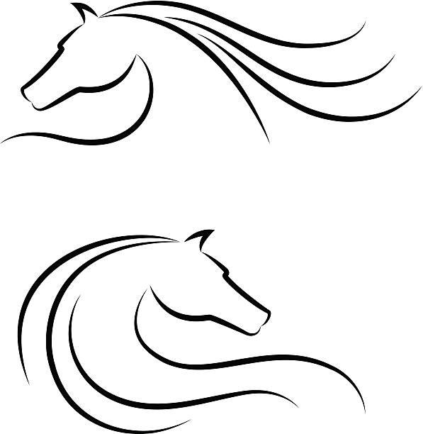 Emblème ensemble de tête de cheval - Illustration vectorielle