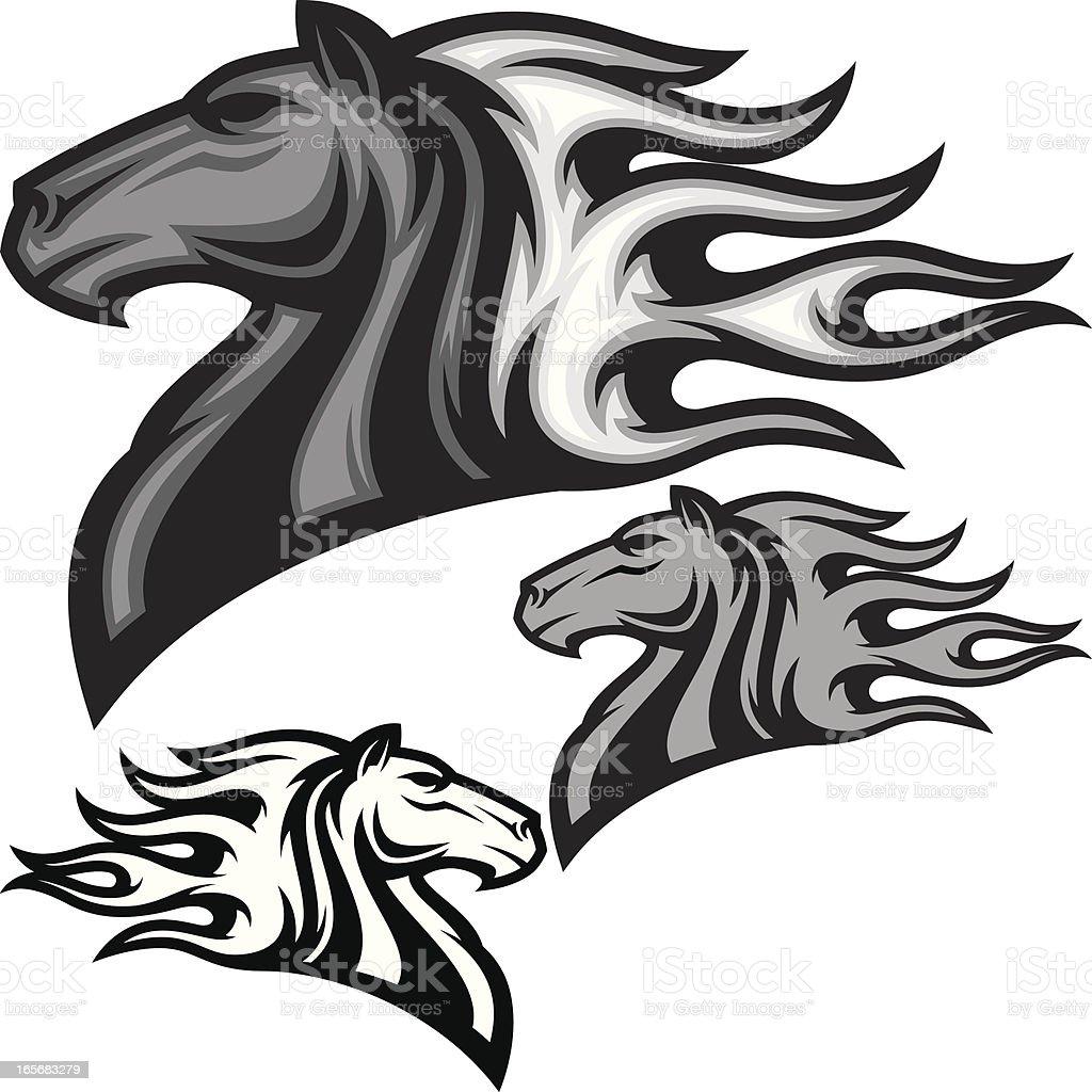 Horse Head Flamed B&W vector art illustration