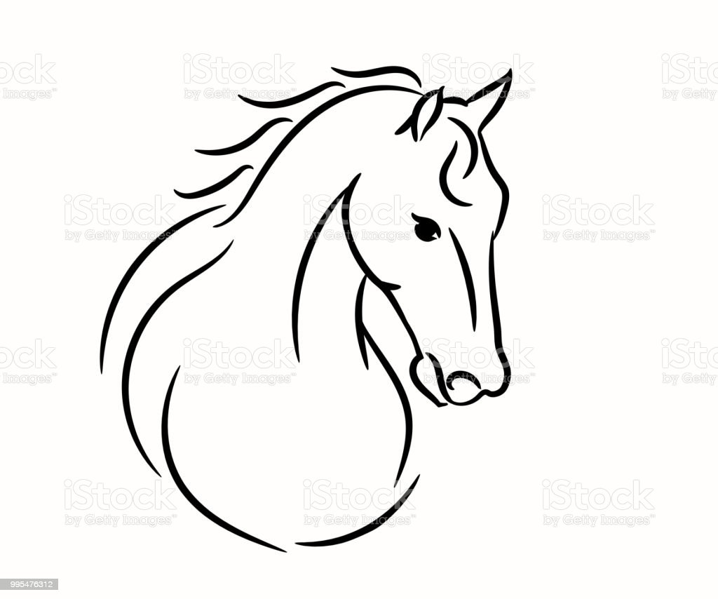 Horse Template | Horse Head Graphic Template Vector Illustration On White Background