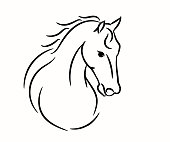 Horse head graphic template, vector illustration on white background.