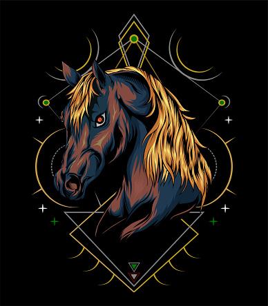 Horse head illustration with sacred symbol