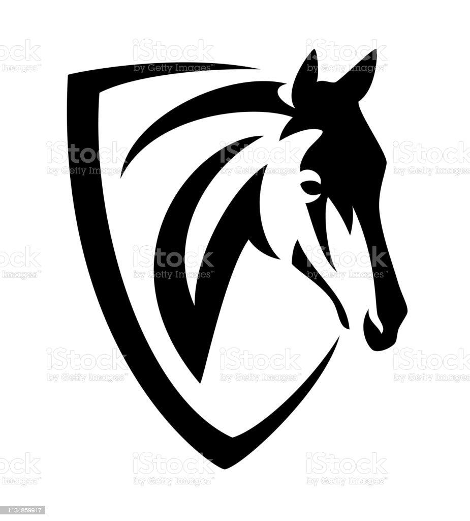 Horse Head In Heraldic Shield Black Vector Outline Stock Illustration Download Image Now Istock