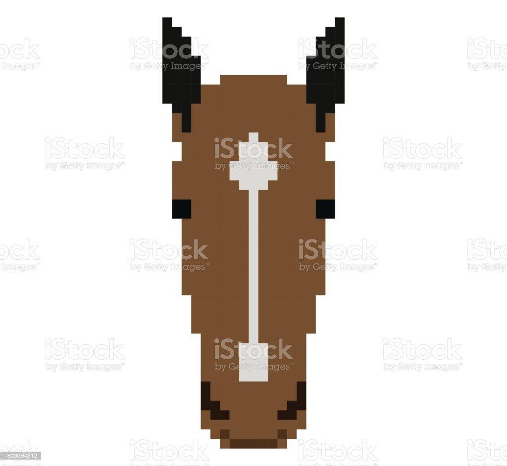 Tete De Cheval En Pixel Art Style Fait De Petits Carres De Couleur