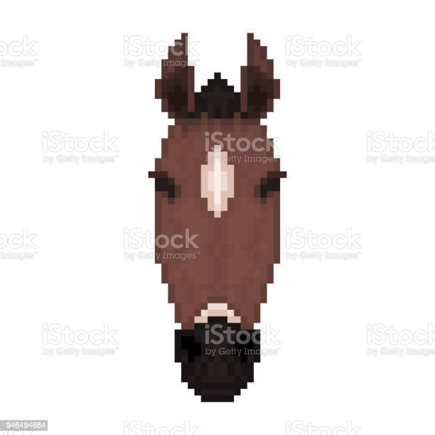 Horse head in pixel art style vector illustration vector id946494684?b=1&k=6&m=946494684&s=612x612&h=rkr u zwishsjjgeuebcxmpdemkhpdwhpimcg6bgcpu=