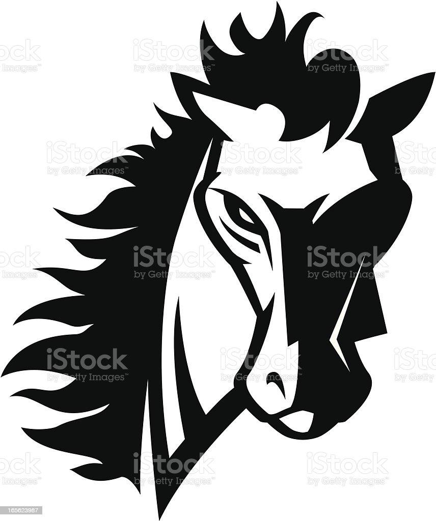 Horse head mascot B&W vector art illustration