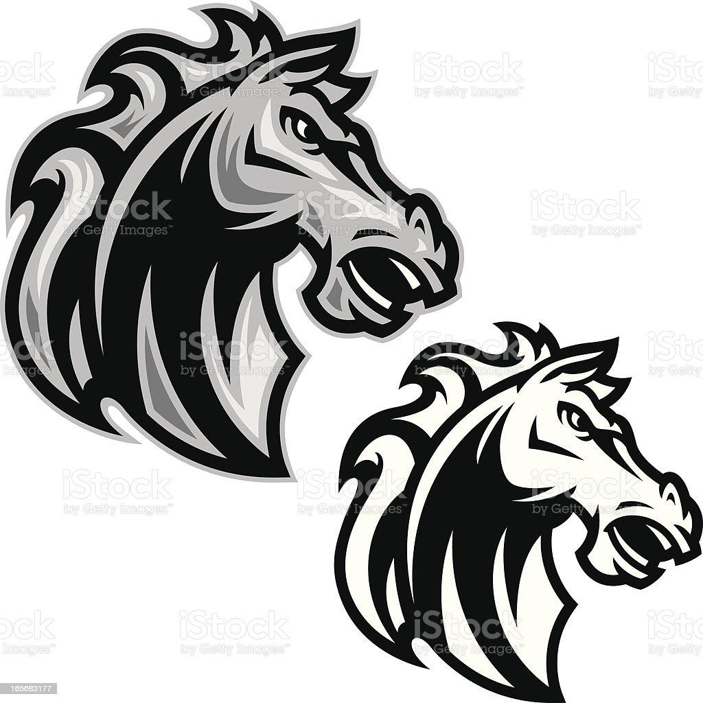 Horse Head Stallion B&W vector art illustration