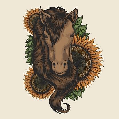 Horse head sunflower vector illustration