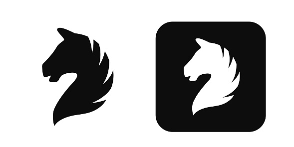 Horse Head Vector Icon Isolated On White Horse Head Logo Horse Head Silhouette Stock Illustration - Download Image Now - iStock
