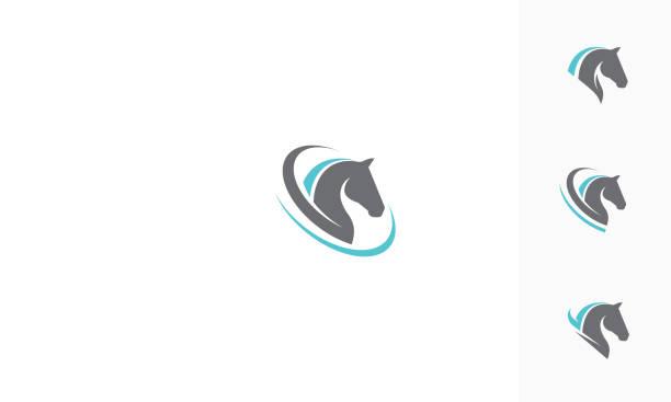 illustrations, cliparts, dessins animés et icônes de icône de cheval tête logo vector - cheval