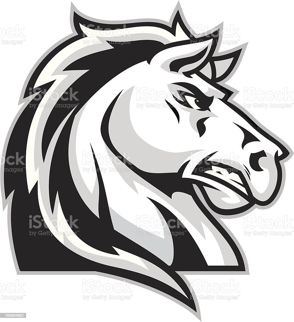 white mustang horse cartoons clip art, vector images