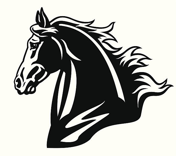 horse head - clip art of a black and white barn stock illustrations, clip art, cartoons, & icons