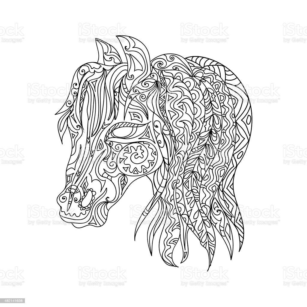 De Caballo Zentangle - Arte vectorial de stock y más imágenes de ...