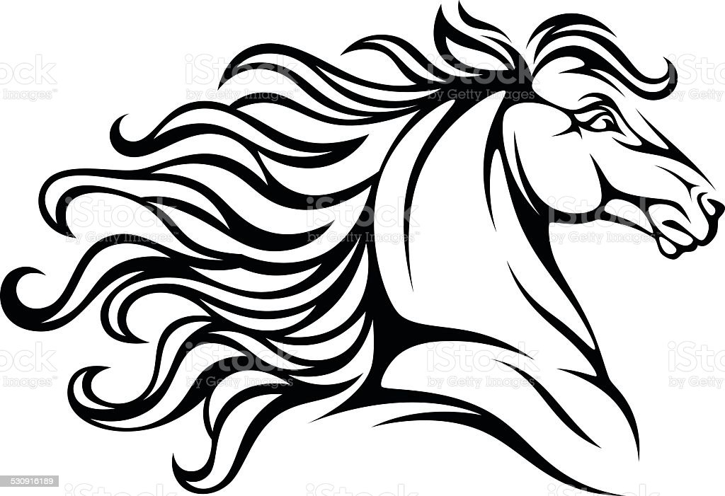 Horse head vector art illustration