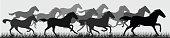 Horse horses running silhouette