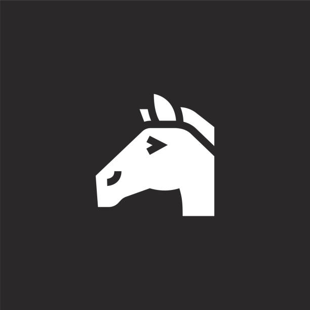 horse icon. Filled horse icon for website design and mobile, app development. horse icon from filled fair collection isolated on black background. horse icon. Filled horse icon for website design and mobile, app development. horse icon from filled fair collection isolated on black background. stallion stock illustrations
