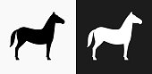 istock Horse Icon on Black and White Vector Backgrounds 825371392