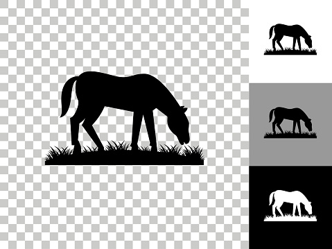 Horse Icon on Checkerboard Transparent Background