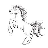 horse in continious line style