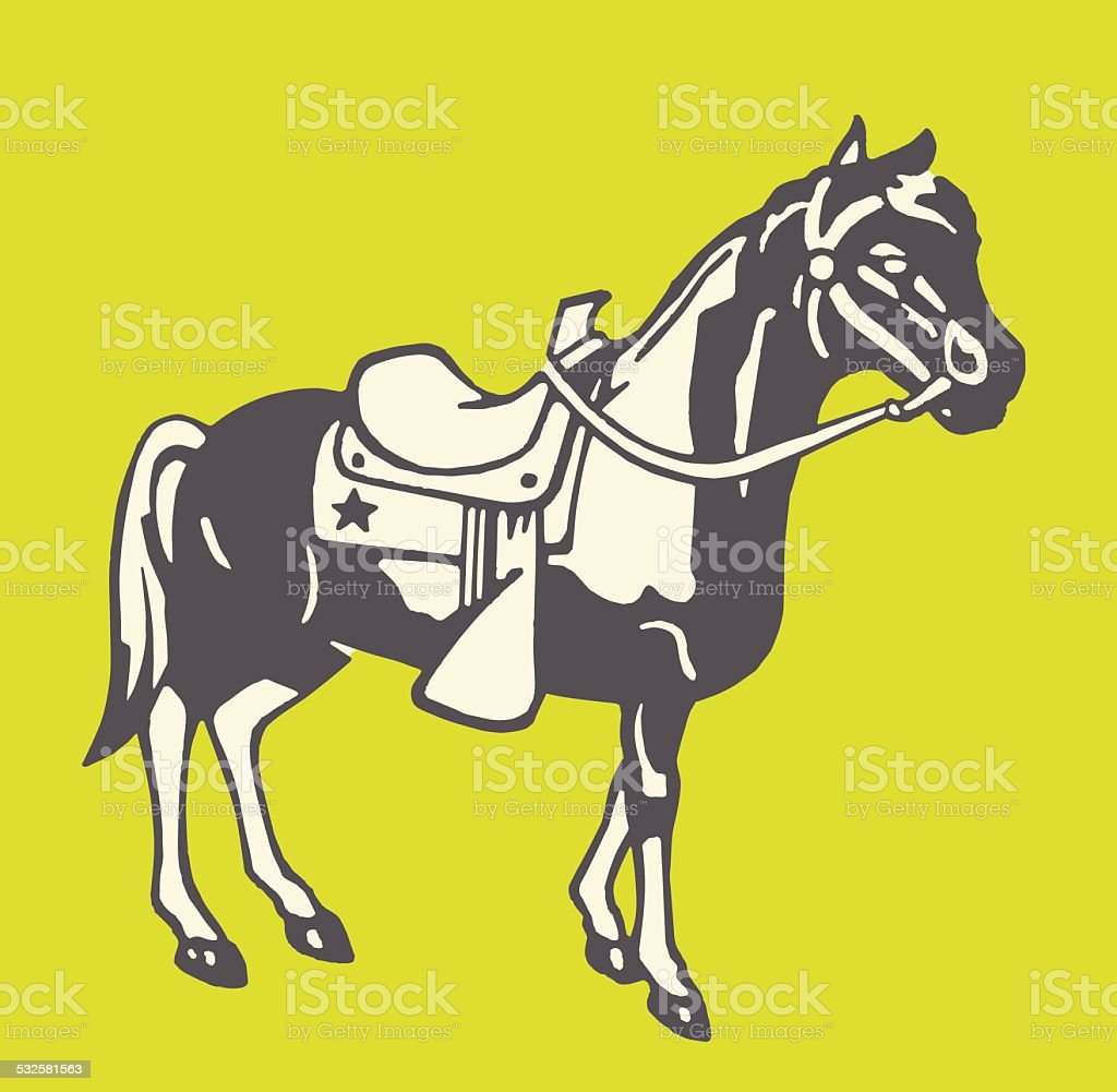 Horse in Saddle and Bridle vector art illustration