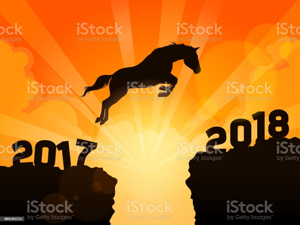 Horse jumping into next year 2018