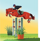 Horse jumping over the Hurdle