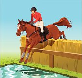 """""""An Illustration of a Horse Jumping over a Water Hurdle at the Cross Country Equestrian Event. The Horse, the Hurdle and background on Separate Layers. High resolution JPG and Illustrator 0.8 EPS included."""""""