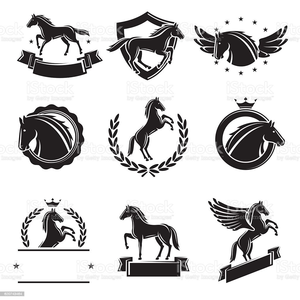 Horse labels and elements set. Vector vector art illustration