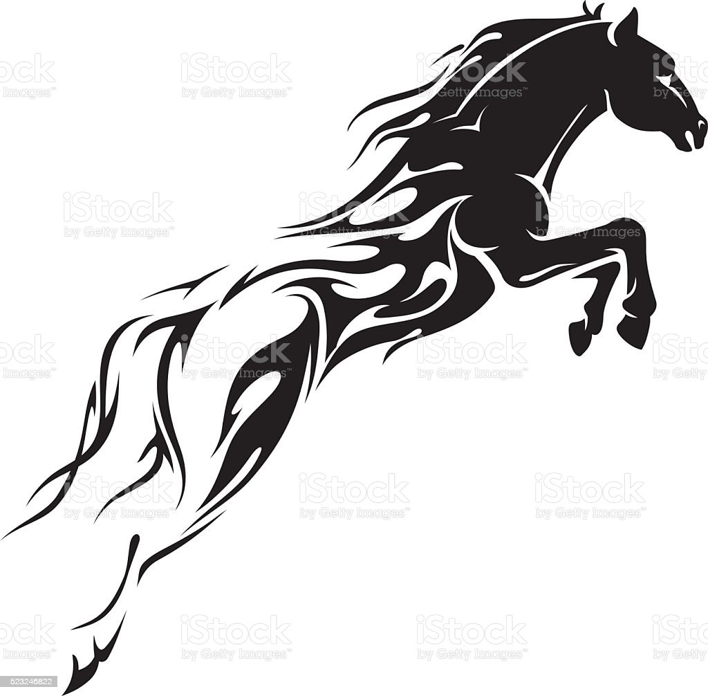 Horse Leap Flames vector art illustration