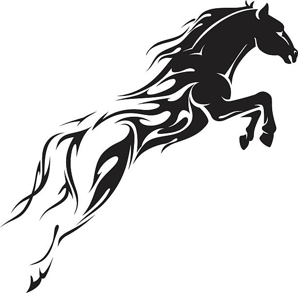 horse leap flames - fire tattoos stock illustrations, clip art, cartoons, & icons