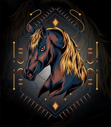 horse logo. horse head illustration with sacred background in the dark. design for t shirt , apparel, poster, decoration print, accessories, phone case and other